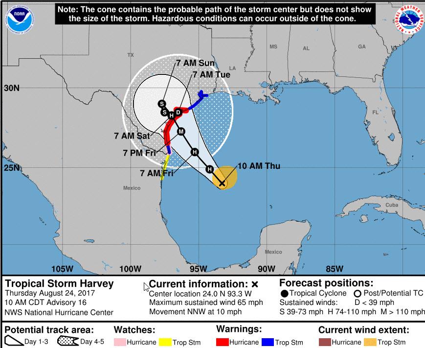 Major Hurricane Harvey August - Map of us hurricanes