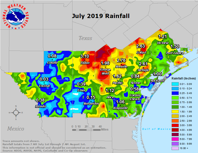 Observed Monthly Rainfall For South Texas
