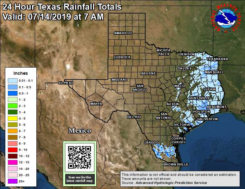 Observed Texas Regional and State Rainfall - 24-hour, 48-hour, 72