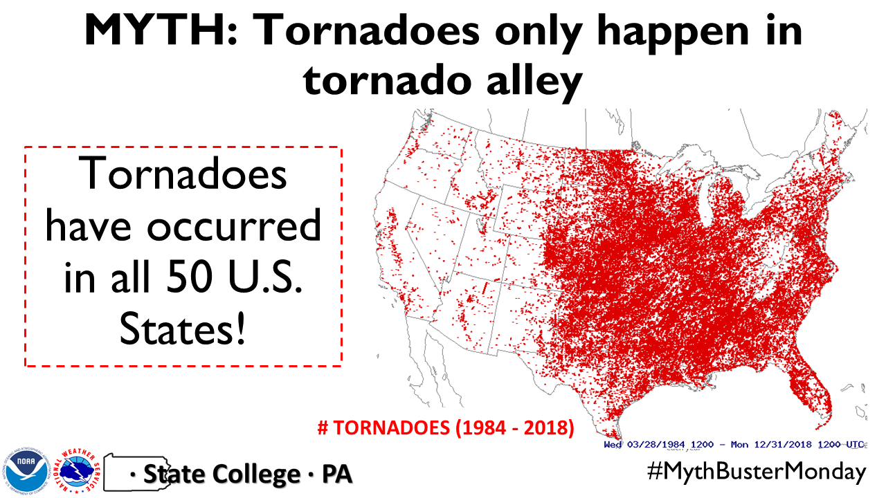 Tornadoes only occur in Tornado Alley (not!)