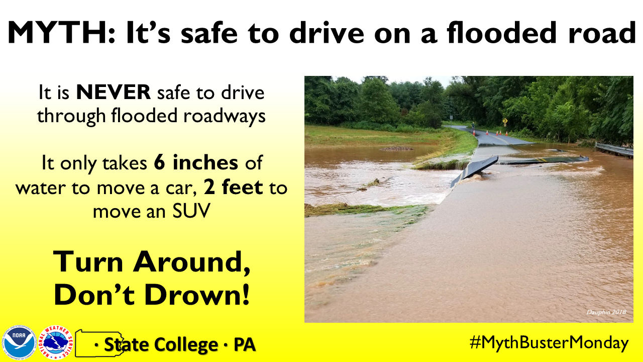 It's NOT! safe to drive on a flooded road