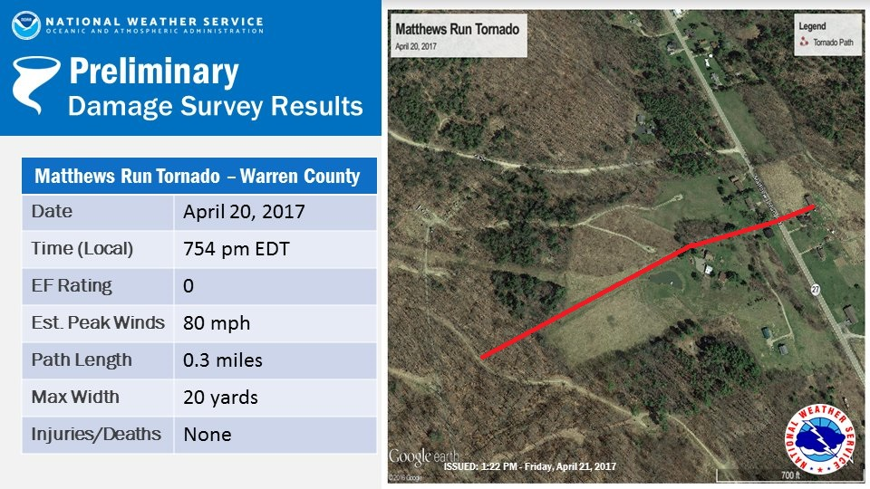 Map of area where a weak tornado occurred on April 20th, 2017 near Matthews Run in Warren Co PA
