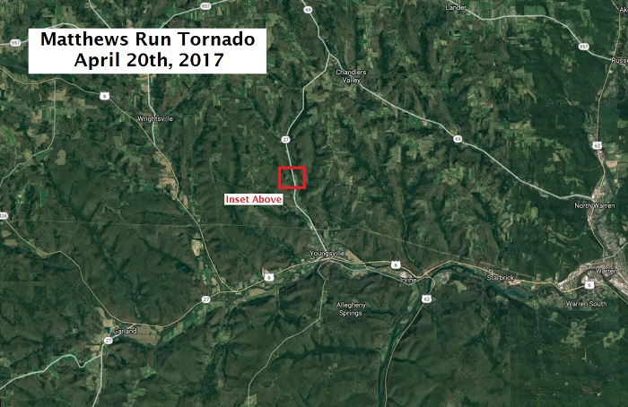 Wide view of area where tornado occurred on April 20th, 2017 (Central Warren Co PA)