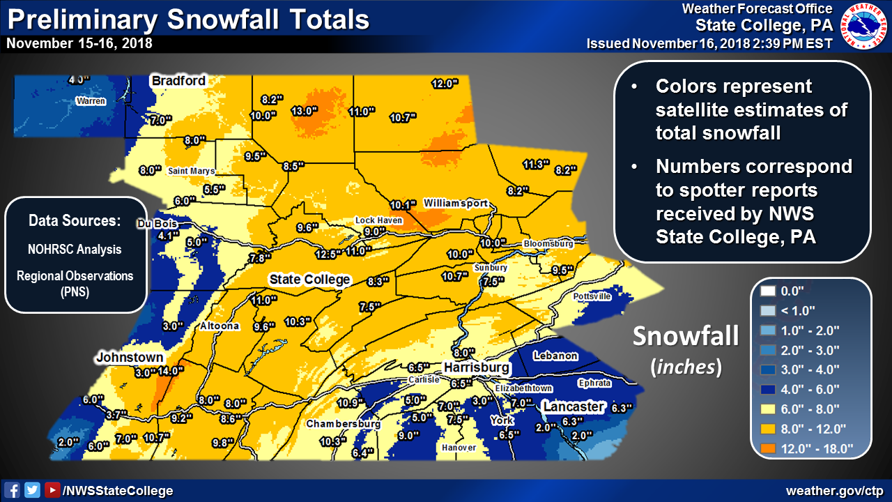 Snowfall Totals From Nov 15th 16th 2018