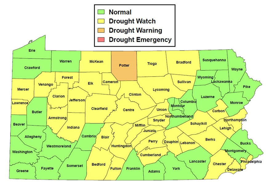 Current PA State DEP Drought Declarations