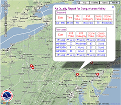 link to map of current Air Quality reports and forecasts