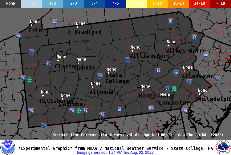 12 Hour Snow Forecast - Period 5