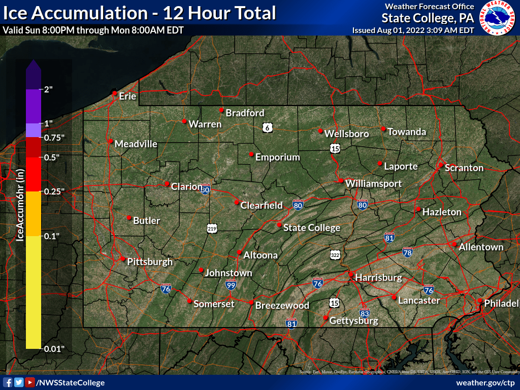 0 to 12 hour ice accumulation forecast