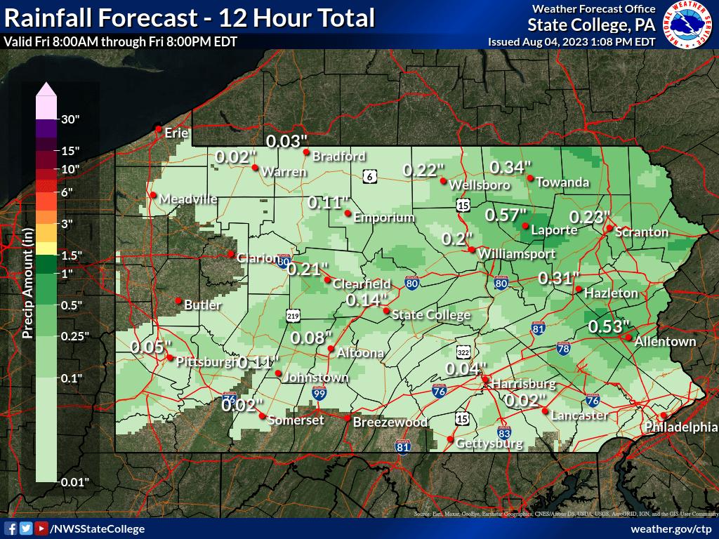 0 to 12 hour QPF forecast