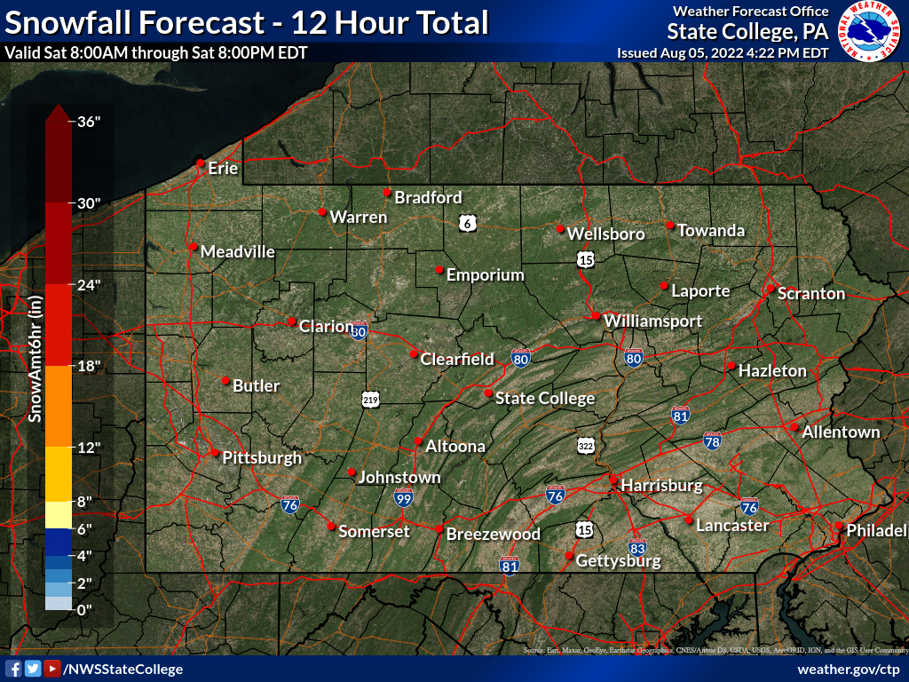 24 to 36 hour snow amount forecast