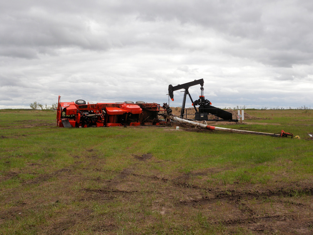 An oil rig was damaged near the Quivira National Wildlife Refuge in Stafford county