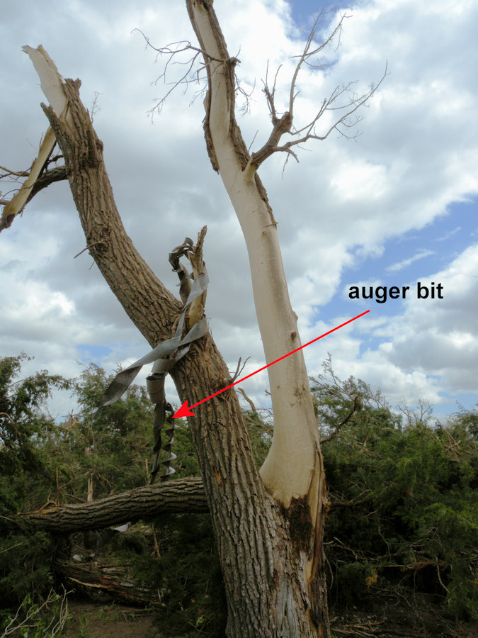 A grain auger was wrapped around this tree hit by the tornado