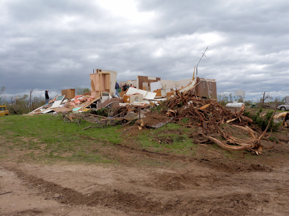 A house was destroyed north of St. John in Stafford county