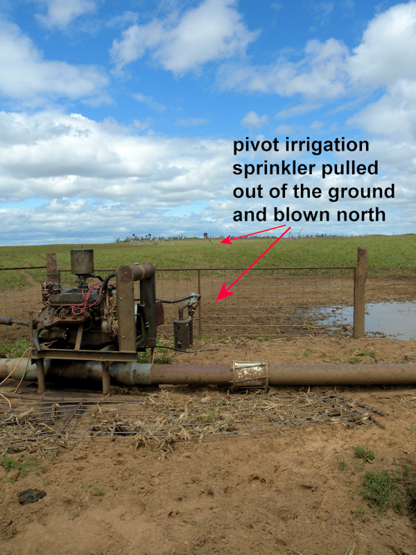 A pivot irrigation sprinkler was pulled out of the ground and carried to the north