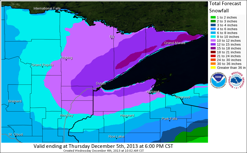 Forecast Snowfall Map