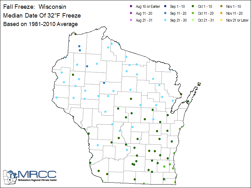 wisconsin first fall freeze dates