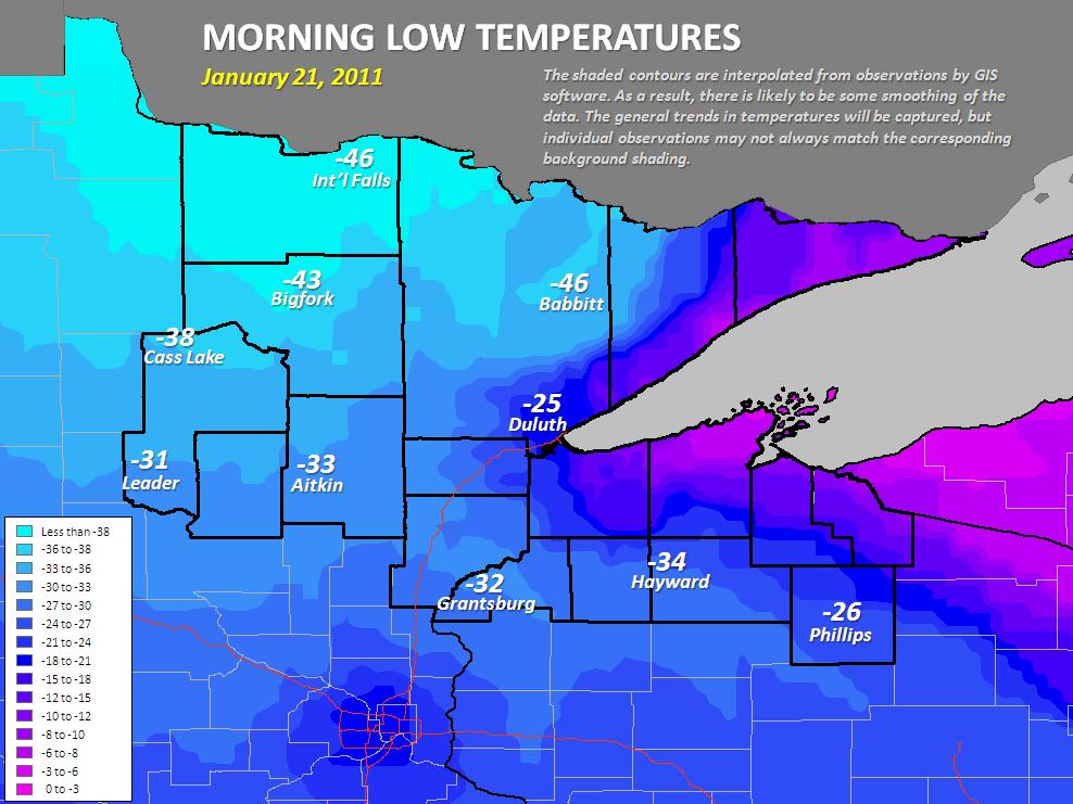 January Frigid Morning Low Temperatures - Map us low temperature january