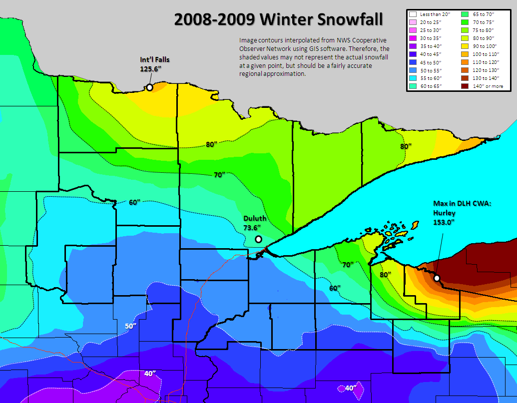 Northland Winter Season Climate Stats And Records - Snow cover map usa