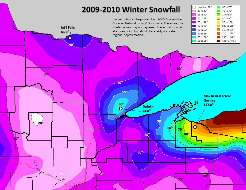 Northland Winter Season Climate Stats And Records - Us annual snowfall map