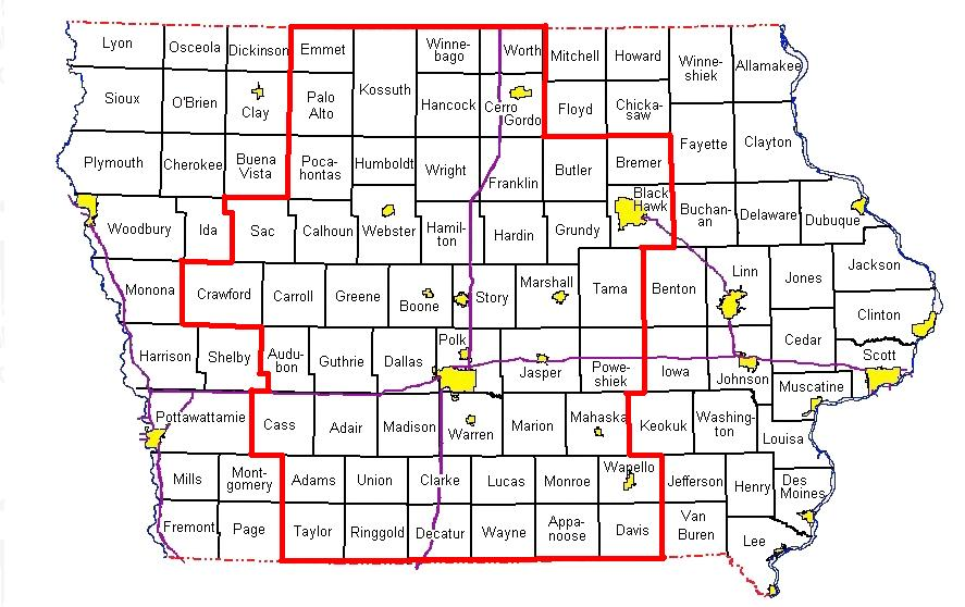 Image depicting area of responsibility of NWS Des Moines.
