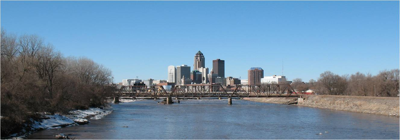 Photo of Des Moines river and downtown Des Moines.