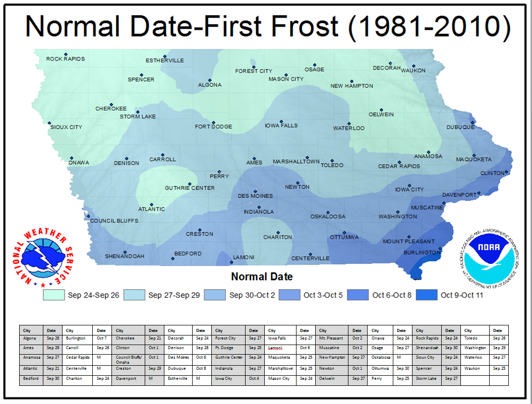 Image depicting Iowa climate normals - click for larger image