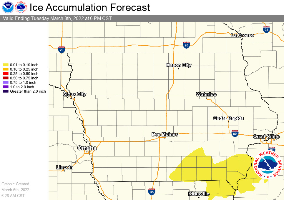 Image of Statewide Graphical Forecast Ice Amounts for the Next 3 Days