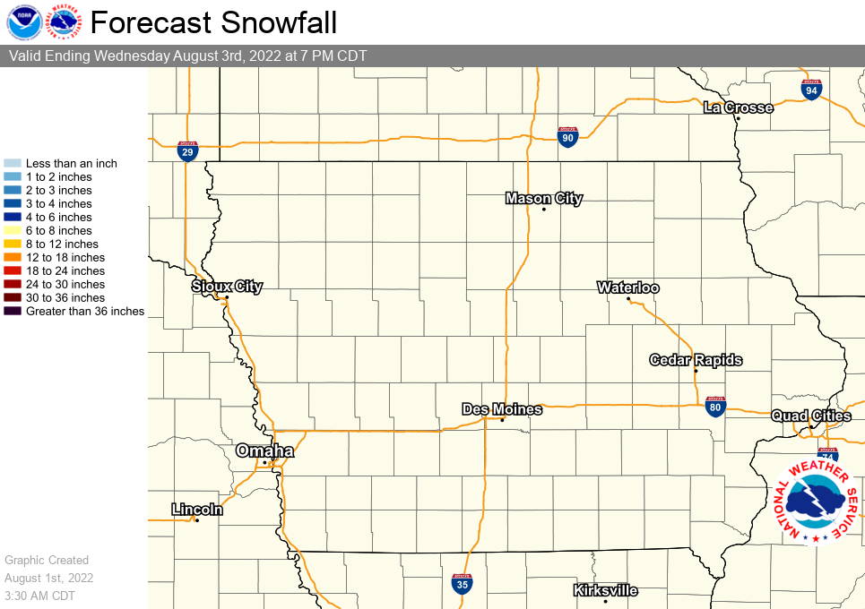 Image of Statewide Graphical Forecast Snowfall Amounts for the Next 3 Days
