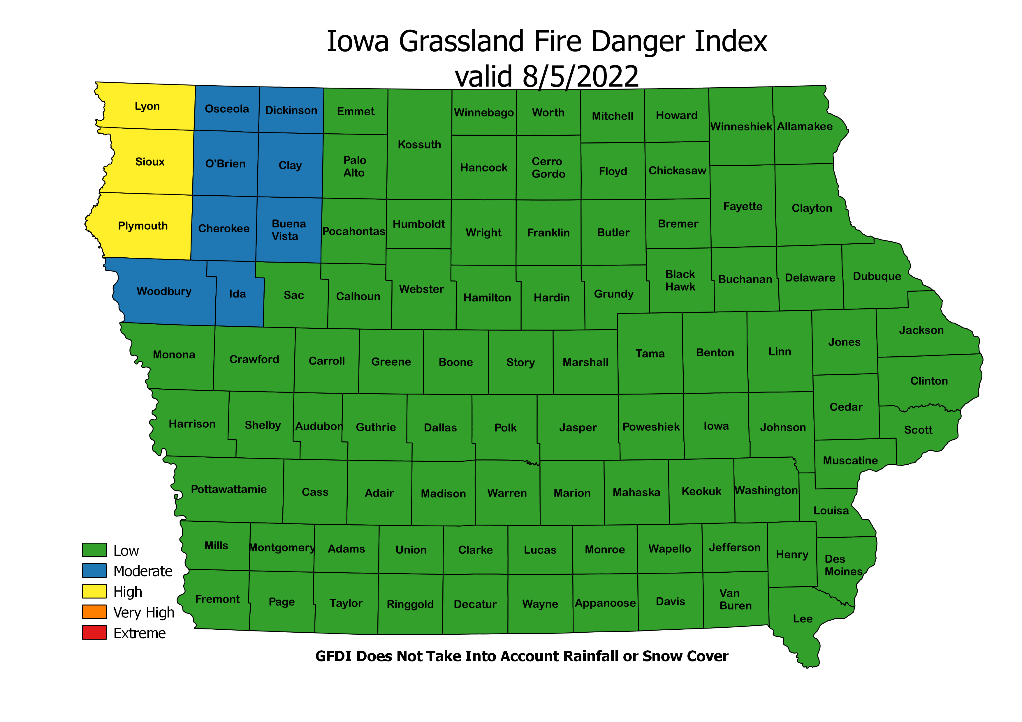 Iowa Forecast Grassland Fire Danger Index image