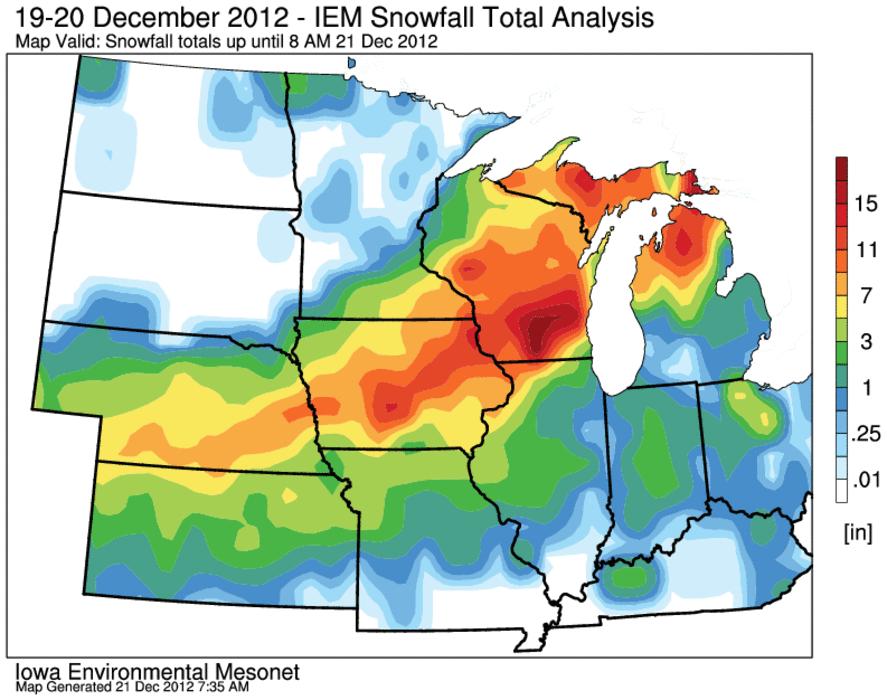 December Blizzard - Us snowfall map 2012