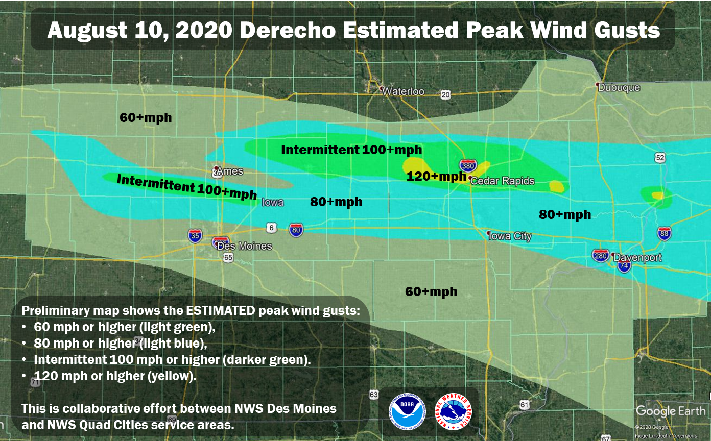 Map showing hte maximum wind gusts from Iowa on August 10, 2020.