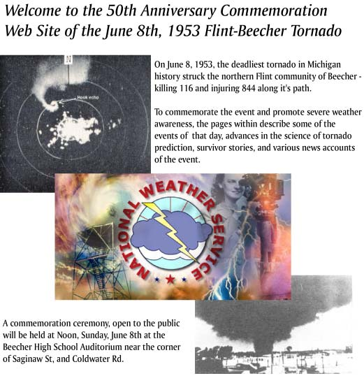 Welcome to the 50th Anniversary Commemoration Web Site of the June 8th, 1953 Flint-Beecher Tornado