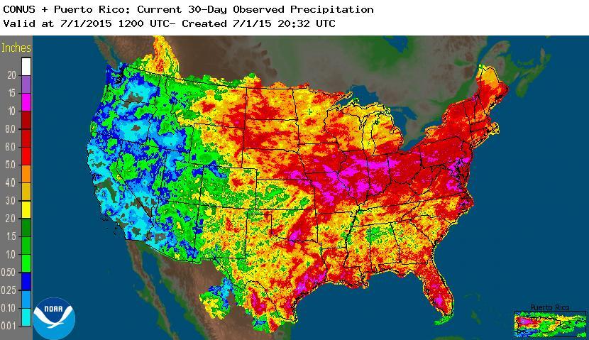 June Rain And Flooding - Us map rainfall