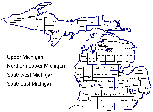 Map of Michigan with links to spot forecast request pages