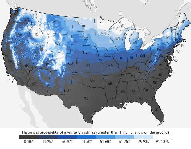 A White Christmas.Probability Of A White Christmas
