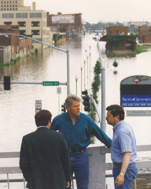 Surveying flood damage in Davenport, IA, July 4