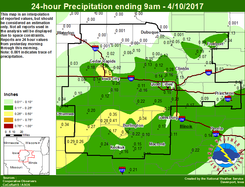 Event Summary April Th Early Morning - Map of eastern iowa