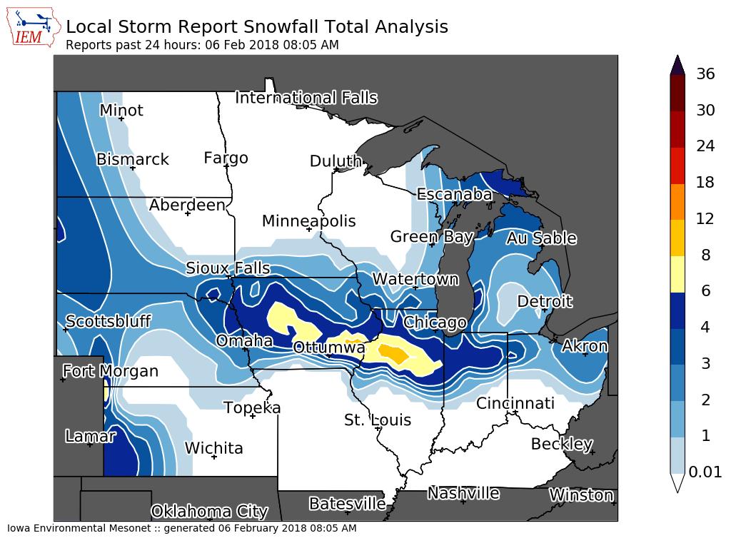 Cantril Iowa Map.Snowfall Summary Feb 5th 2018