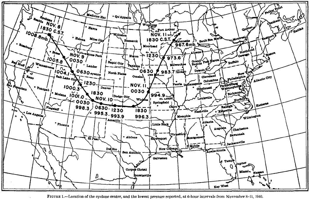 November 1940 Map - lowest pressure reported at 6 hour intervals from November 8-11