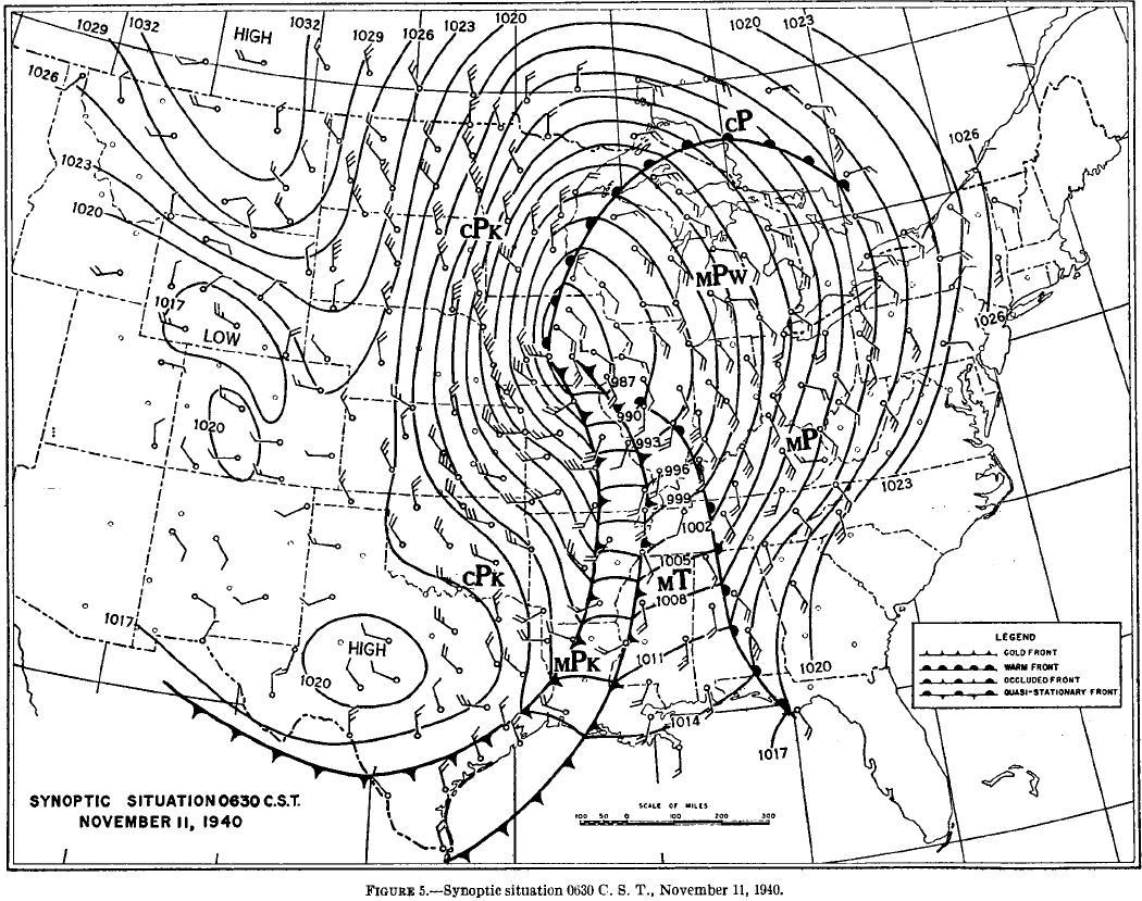 Map of Synoptic Situation 0630 CST Nov 11, 1940