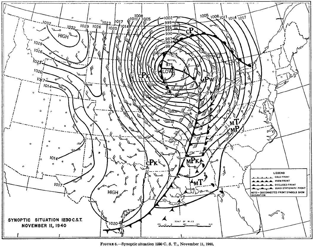 Map of Synoptic Situration 1230 CST November 11, 1940