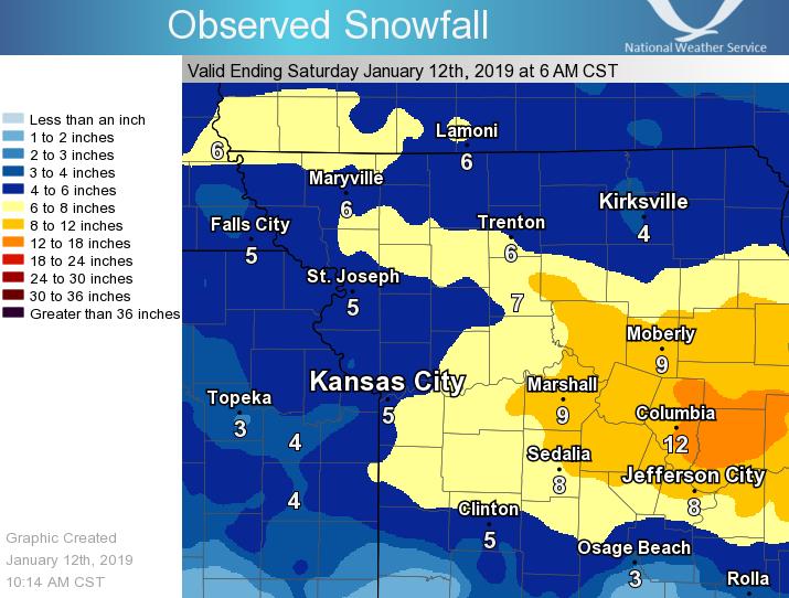 Weather Map Kansas City January 11 12, 2019 Winter Storm