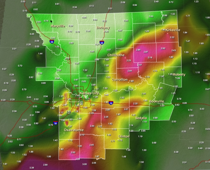 Precipitation Map for June 8th/9th 2008, ending at 7 AM CDT