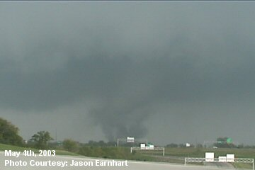 Tornado looking northeast from intersection of Interstate 70 and Interstate 435 (Kansas)