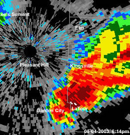 Radar image of tornadic supercell over Cass/Johnson County Missouri  05-04-2003 6:14pm
