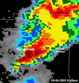 Radar image of tornadic supercell over Johnson County Missouri  05-04-2003 6:48pm