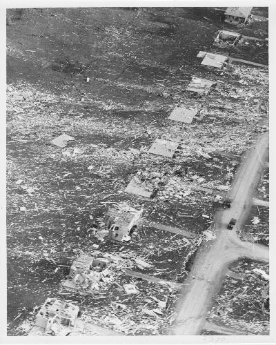 Aerial of destruction/damage to homes