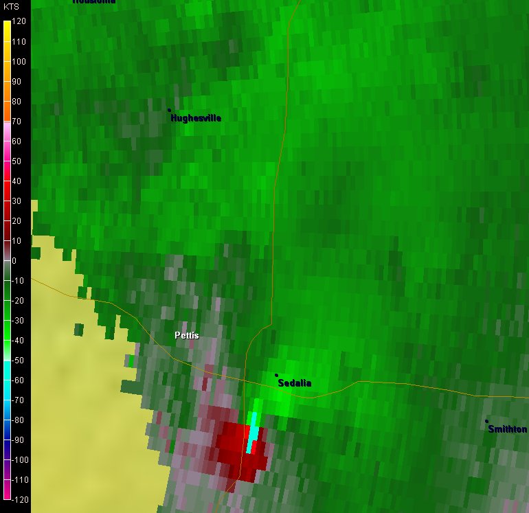 Velocity Signature of tornado vortex just east of highway 65 at approximately 12:22 pm