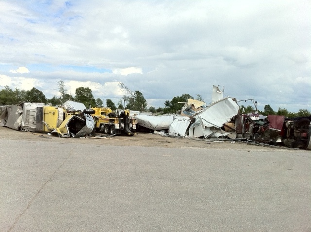 Tractor trailers damage