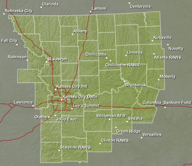 Weather Map Kansas City NWS Kansas City/Pleasant Hill, MO   Fire Weather